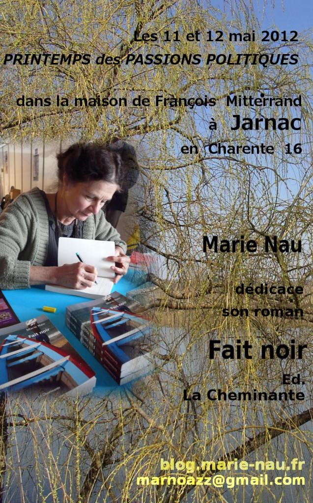 Poster dédicace Fait noir au Printemps des passions politiques Jarnac Charente